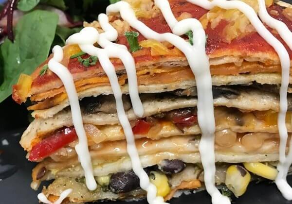 Vegan Tortilla Stack at A Tad Whimsy