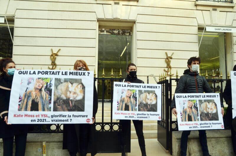 Image shows PETA France demonstration