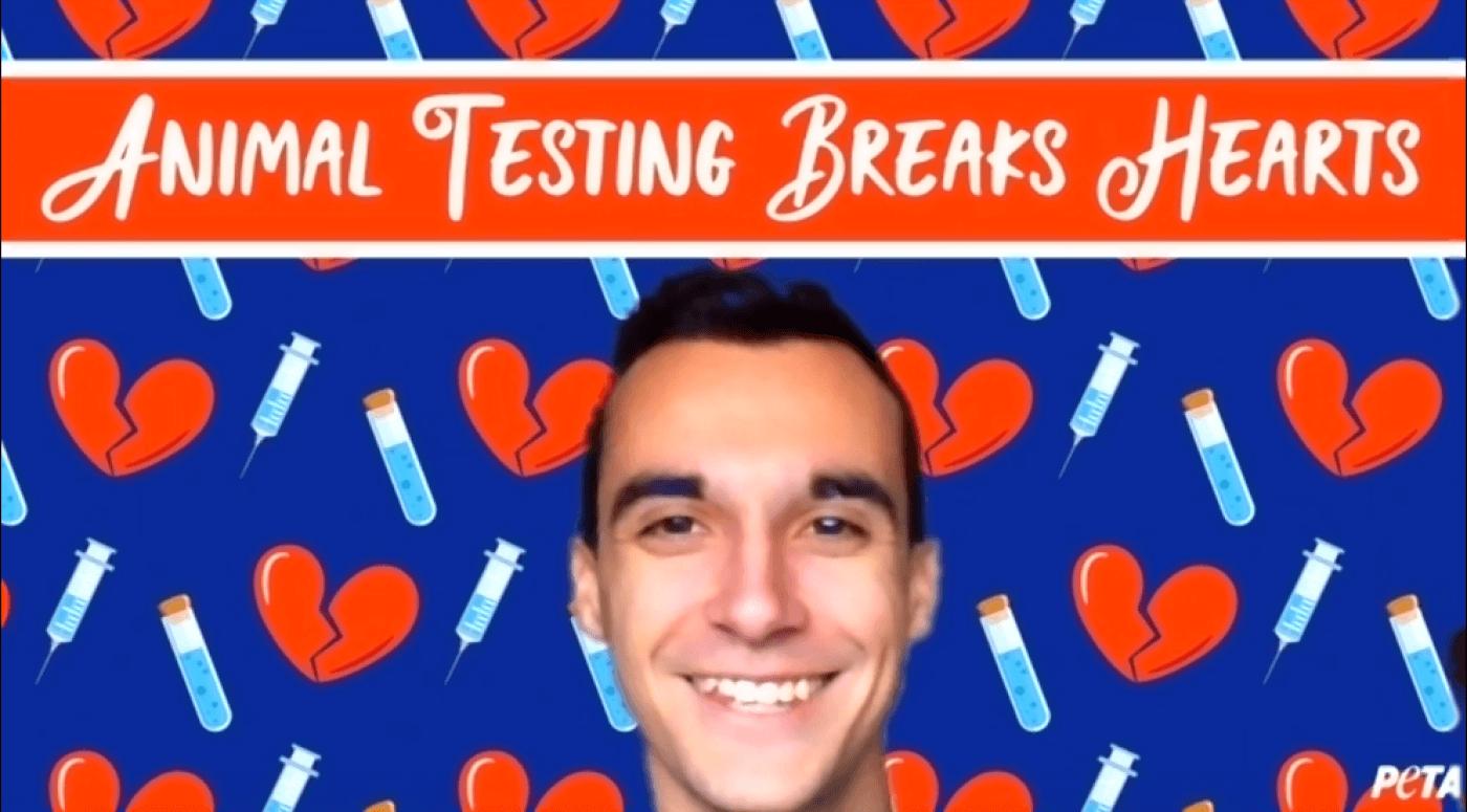 Animal Testing Breaks Hearts Zoom Background.