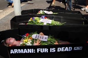 Armani fur protest Sydney