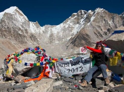 PETA supporter at Mt. Everest base camp