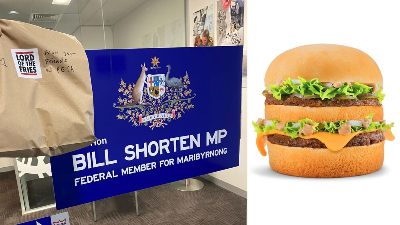 A vegan Biggie delivered to Bill Shorten.