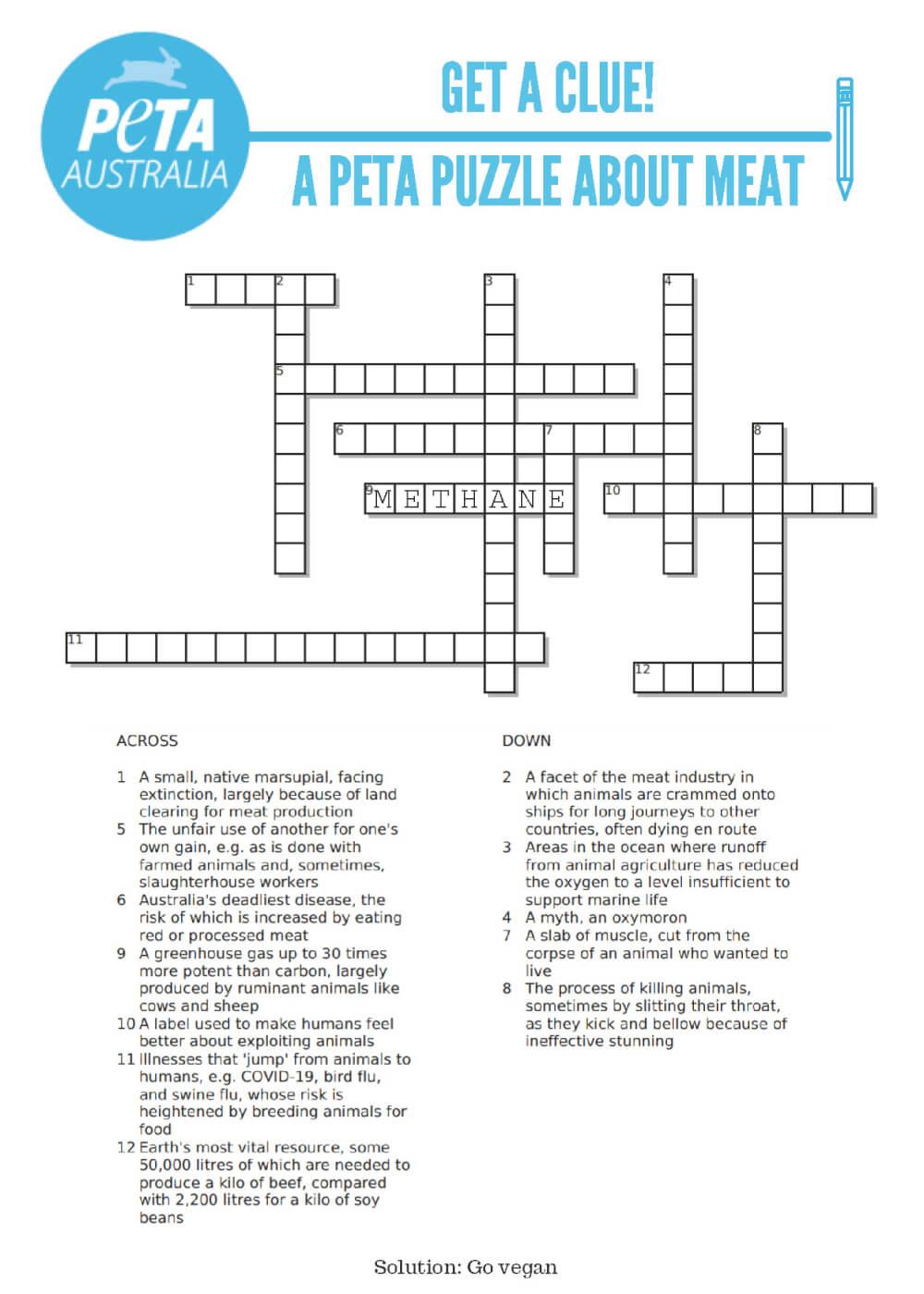 PETA's crossword puzzle