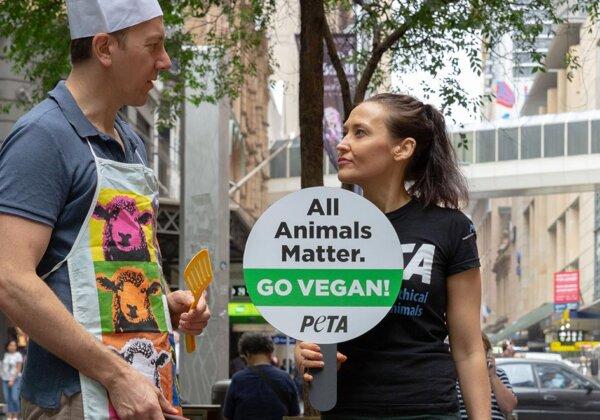 Photo of PETA's Australia Day protest in Sydney.