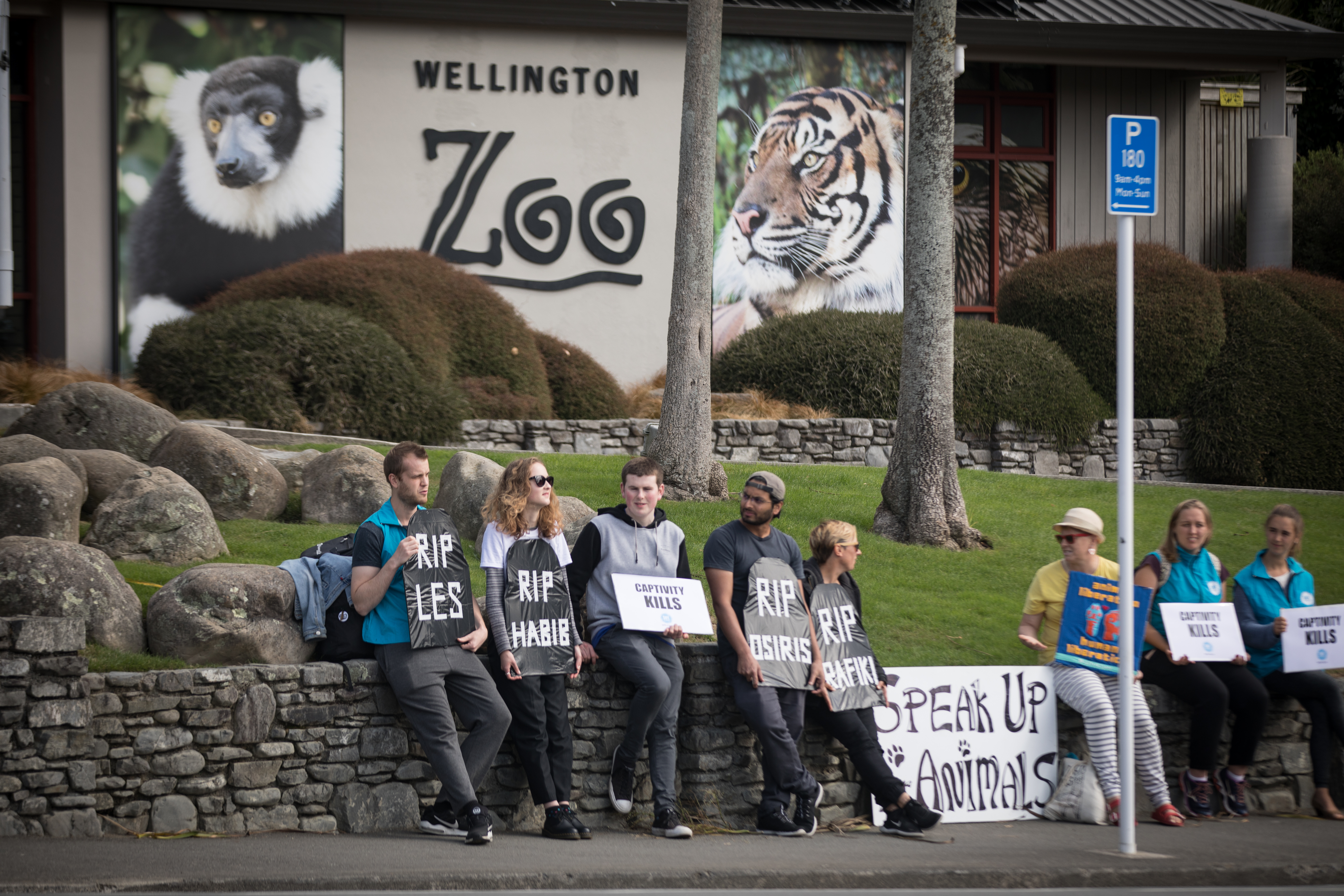 Speak Up For Animals NZ and SAFE protest at Wellington Zoo.