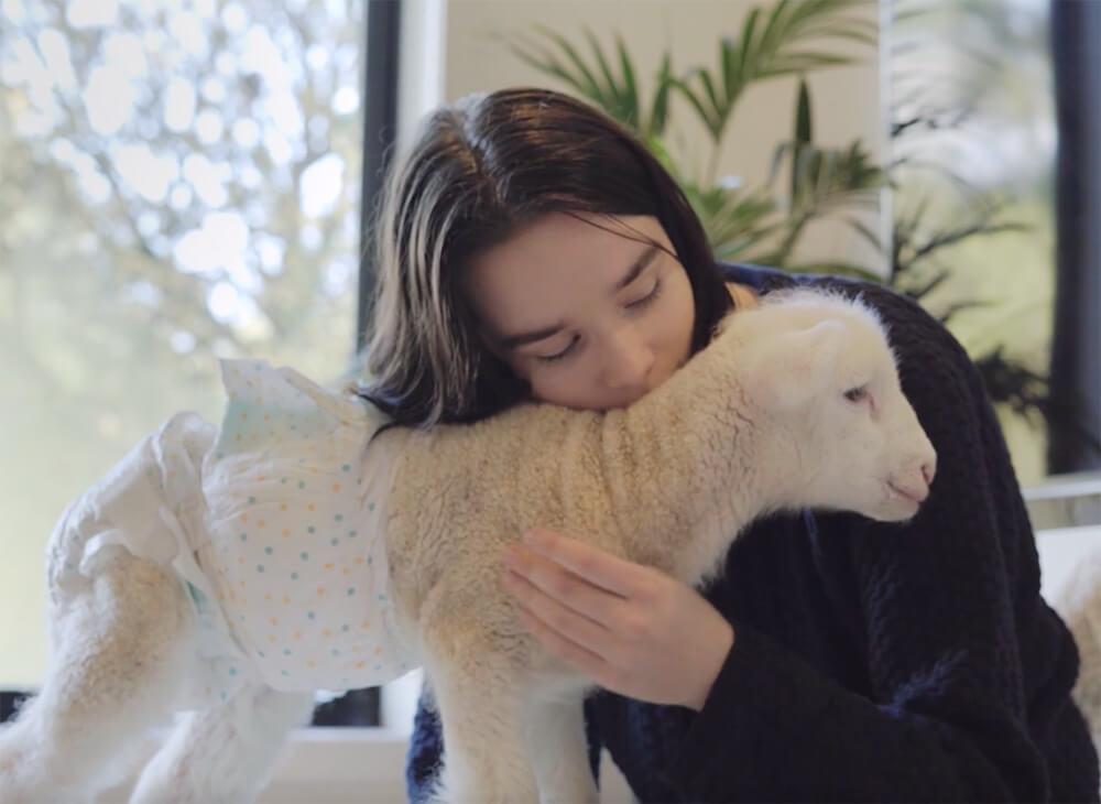 Model Emma Håkansson and Lamb