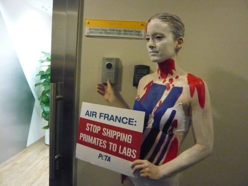 PETA Air France Naked Demo