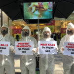 PETA protesters in hazmat suits.