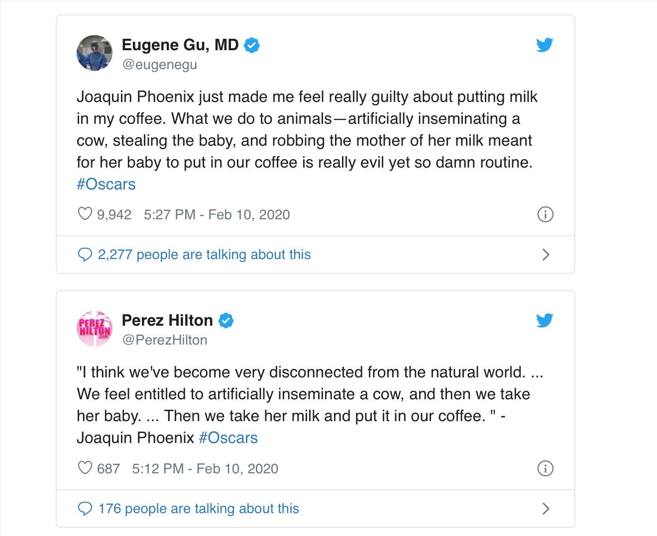 Tweets after Joaquin Phoenix's Oscars speech.