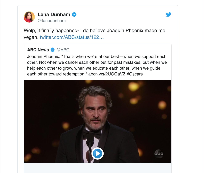 A tweet by Lena Dunham about going vegan.