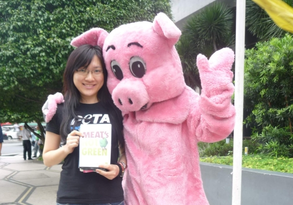 Leafleting, March 2012, With Pig