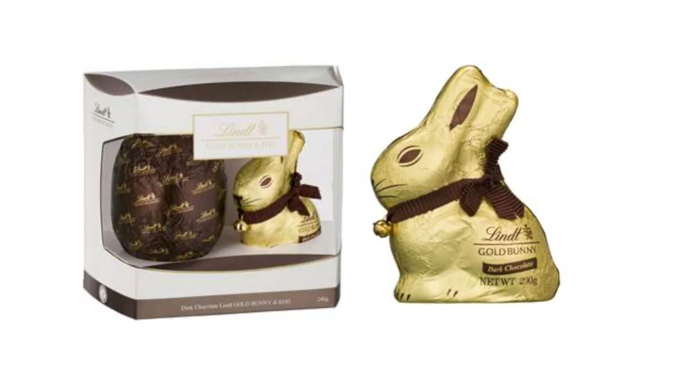 Lindt dark chocolate bunny and egg.