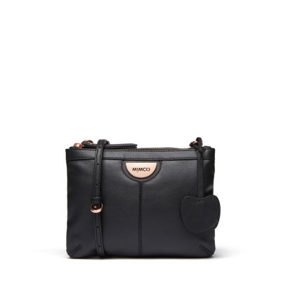 A photo of MIMCO's new cross body bag made with apple peel leather.