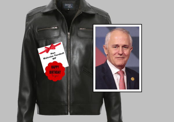 Malcolm Turnbull's Birthday Suit: A Vegan Leather Jacket From PETA