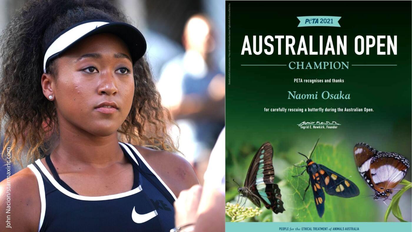 "Left: Naomi Osaka. Right: A PETA ""Australian Open Champion"" Award."