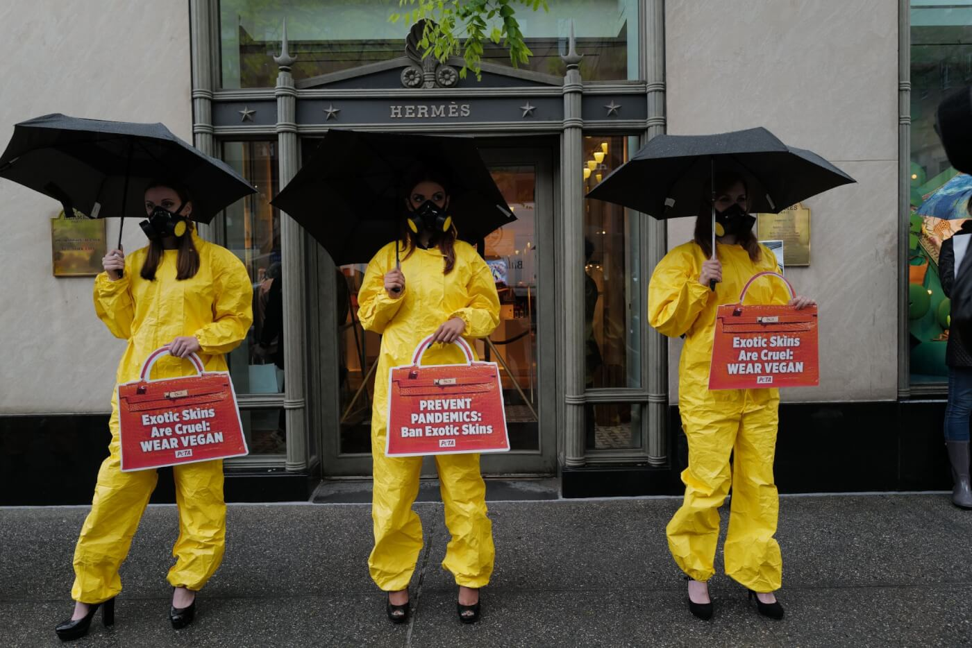 PETA US protest outside Hermes in NYC