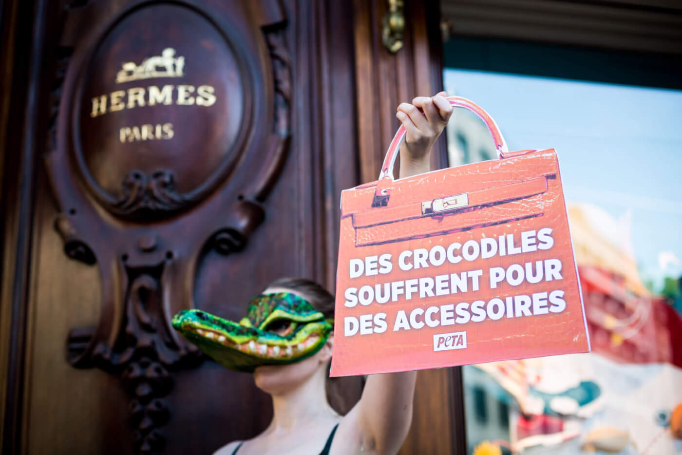 A protester wearing a crocodile mask outside Hermès in Paris.