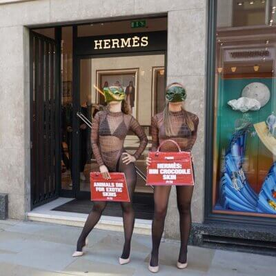 Protesters outside the Hermès store in London.