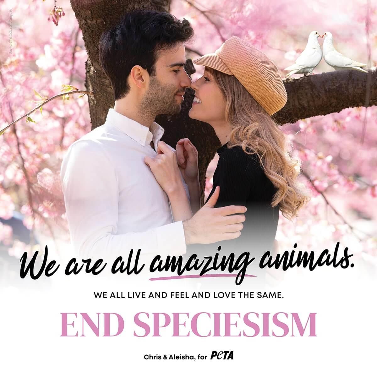 Chris and Aleisha pose for a PETA ad against speciesism