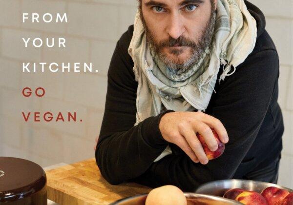 Image shows Joaquin Phoenix in his new PETA campaign