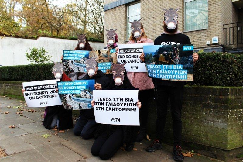 Demonstrators descend on Greek embassy in London