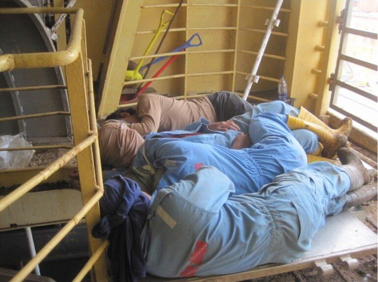 Workers Sleep on a Live Export Ship