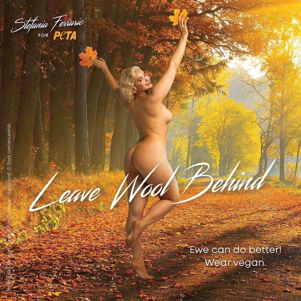 Stefania Ferrario poses nude for PETA