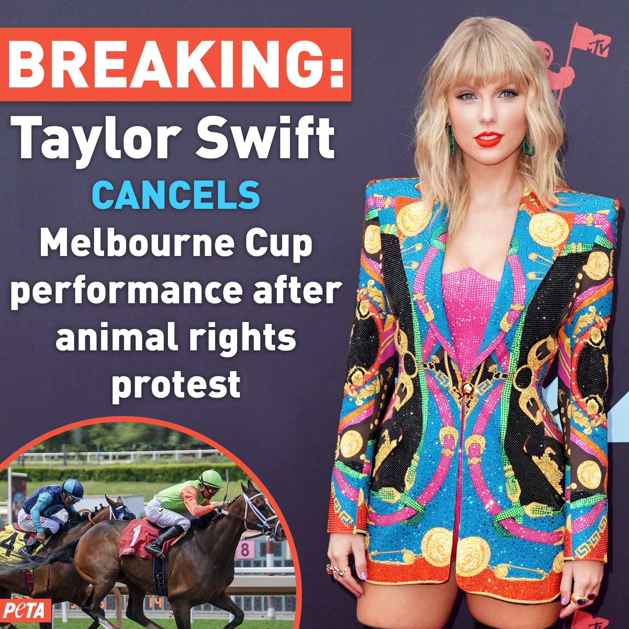 A photo of Taylor Swift, who cancelled her performance at the Melbourne Cup.