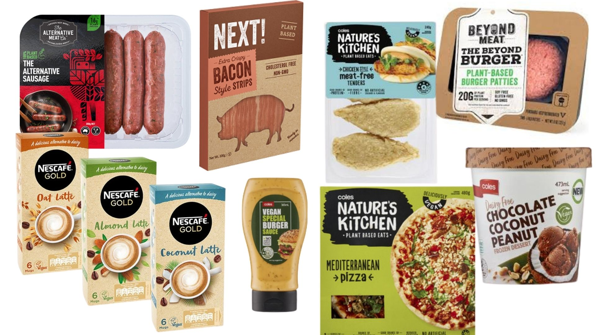 Some of the vegan products on offer at Coles.