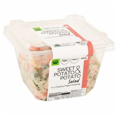 A photo of a pre-made vegan potato salad that's available at Woolworths.
