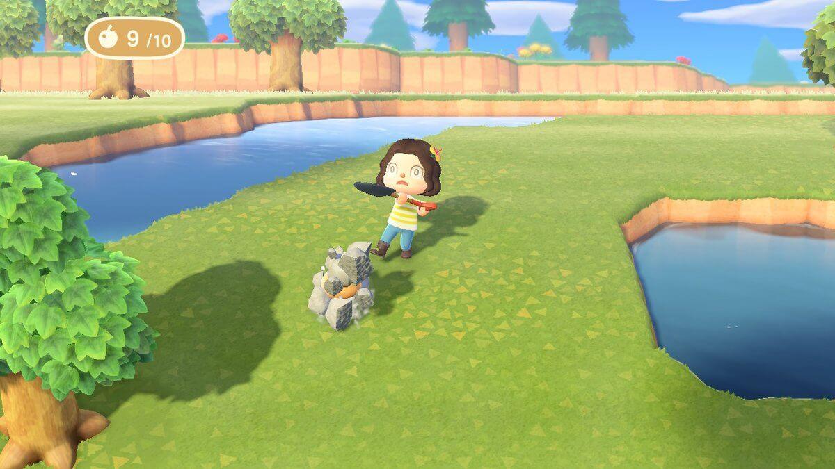 Breaking rocks in Animal Crossing.