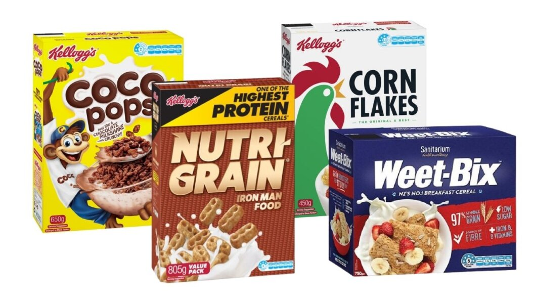 Boxes of cereals.