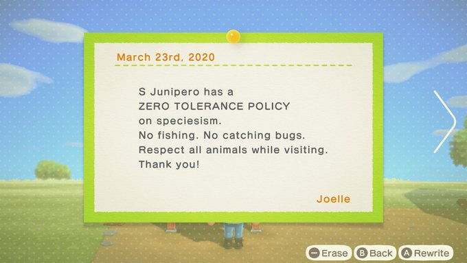 Write your own bulletin in Animal Crossing.