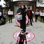 Canada Goose Protest with Maggie Q