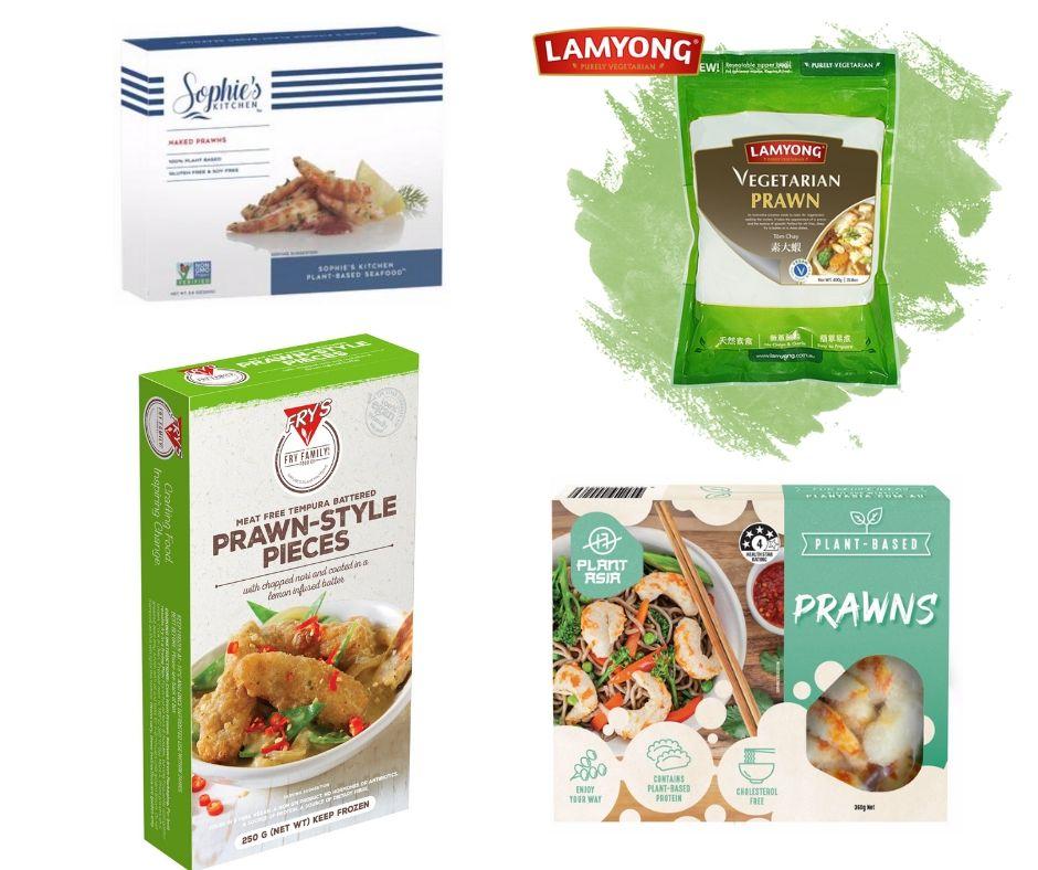Product images of vegan prawns.