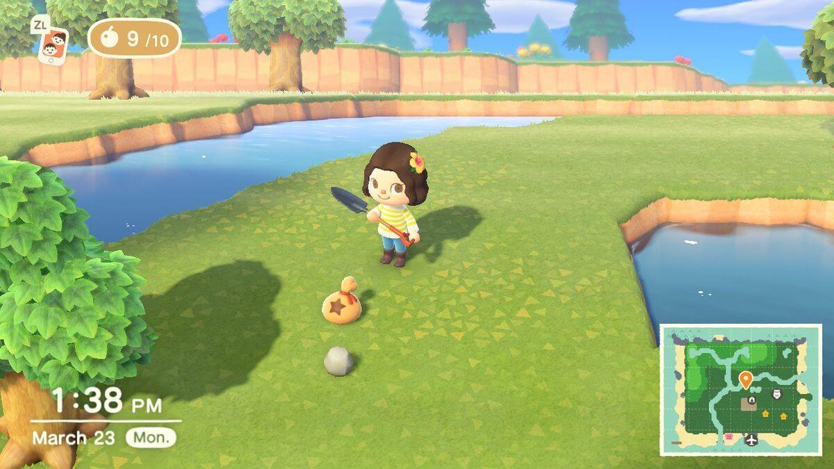Rock smash in Animal Crossing.