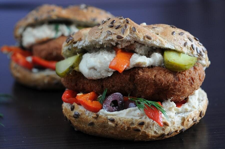 Vegan Burger with Hummus