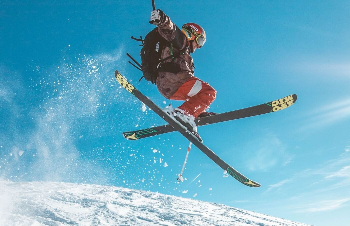 A skier doing a trick.