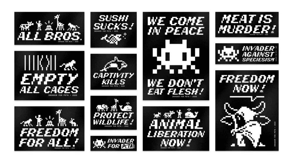 Invader sticker designs for PETA