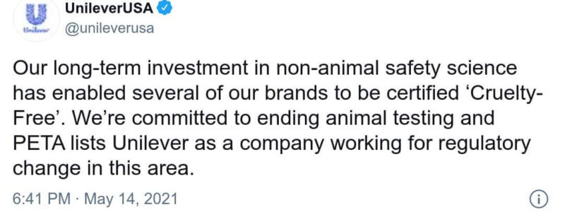 A tweet from Unilever about its commitment to ending animal testing