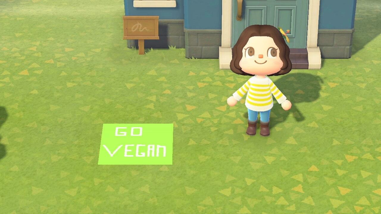 Vegan custom design in Animal Crossing.