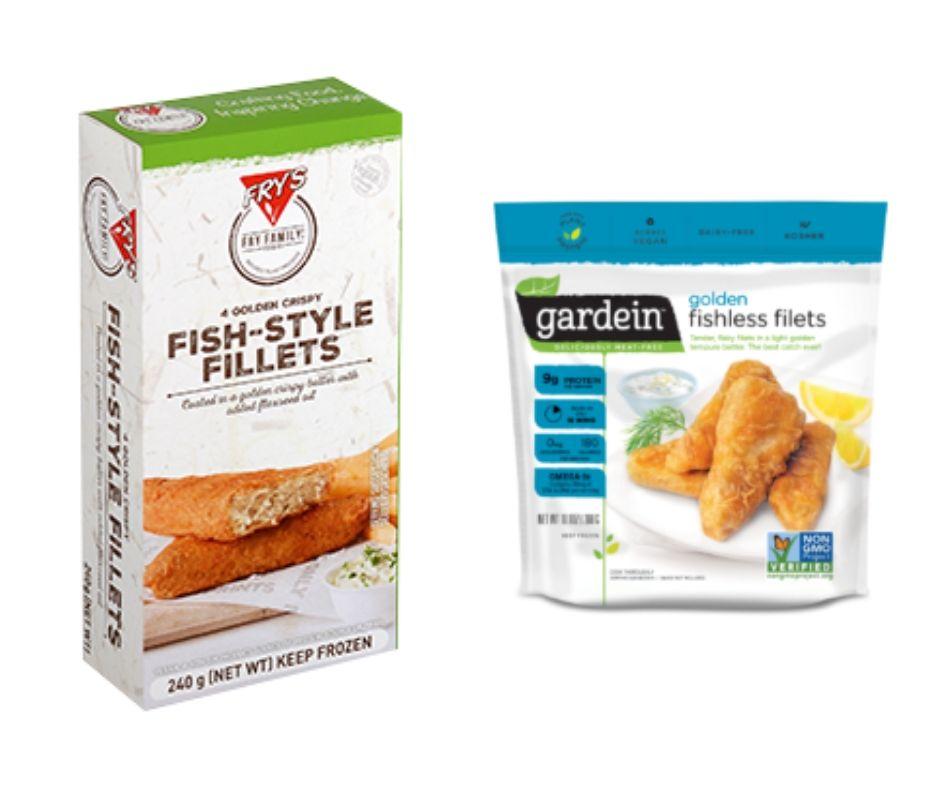 Photos of vegan fish products.