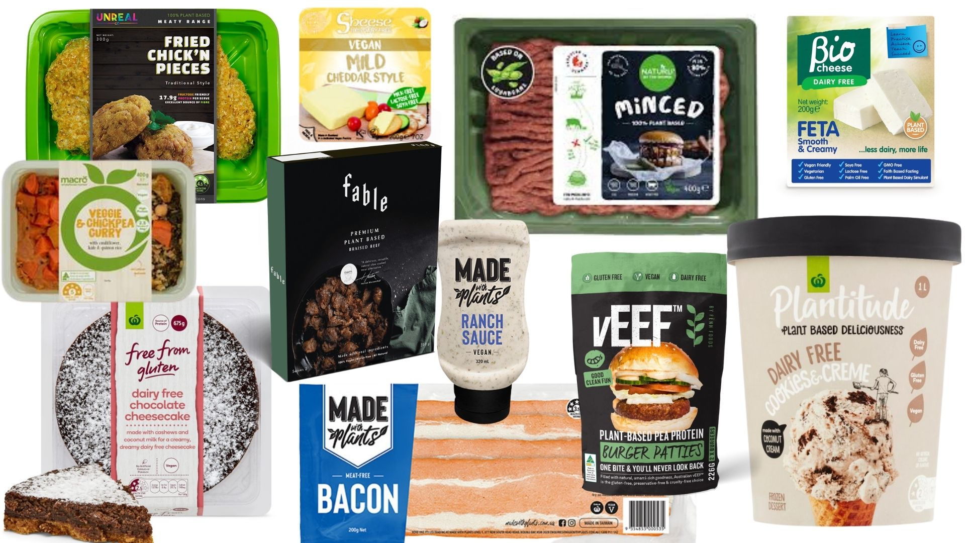 Just some of the vegan products available at Woolworths.